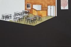 restaurant væg mod køkken